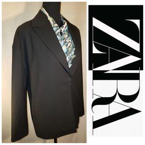 Zara Women's Black Blazer Jacket One Button Hidden